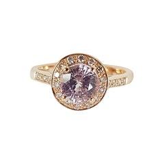 Pink Sapphire with Brown Diamond Ring Set in 18 Karat Rose Gold Settings