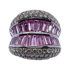 Pink Sapphire with Brown Diamond Ring Set in 18 Karat White Gold Settings