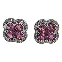 Pink Sapphire with Diamond Clover Earrings Set in 18 Karat White Gold Settings
