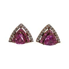 Pink Sapphire with Diamond Earrings Set in 18 Karat Rose Gold Settings