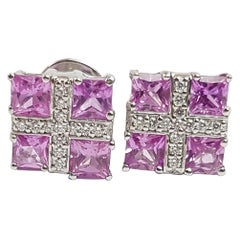 Pink Sapphire with Diamond Earrings Set in 18 Karat White Gold Settings