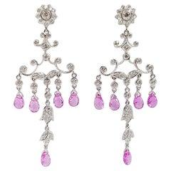 Pink Sapphire with Diamond Earrings Set in 18 Karat White Gold Settings