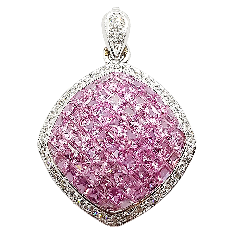 Pink Sapphire with Diamond Pendant Set in 18 Karat White Gold Settings