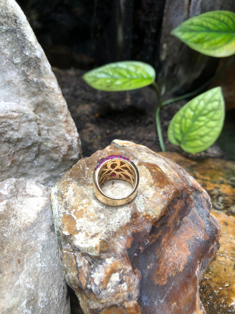 Pink Sapphire with Diamond Ring Set in 18 Karat Rose Gold Settings For Sale 9