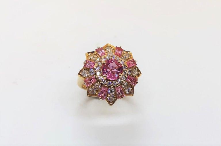 Pink Sapphire 1.16 carats with Pink Sapphire 2.32 carats and Diamond 0.81 carat Ring set in 18 Karat Rose Gold Settings  Width: 2.5 cm Length: 2.5 cm  Ring Size: 51