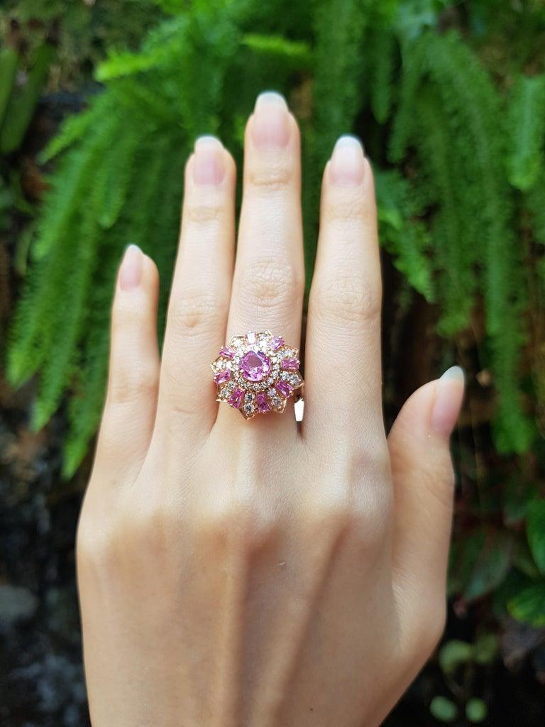 Women's Pink Sapphire with Diamond Ring Set in 18 Karat Rose Gold Settings For Sale