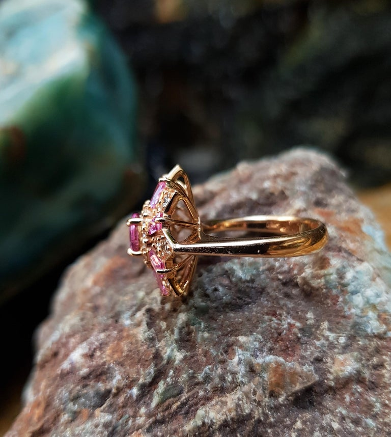 Pink Sapphire with Diamond Ring Set in 18 Karat Rose Gold Settings For Sale 1