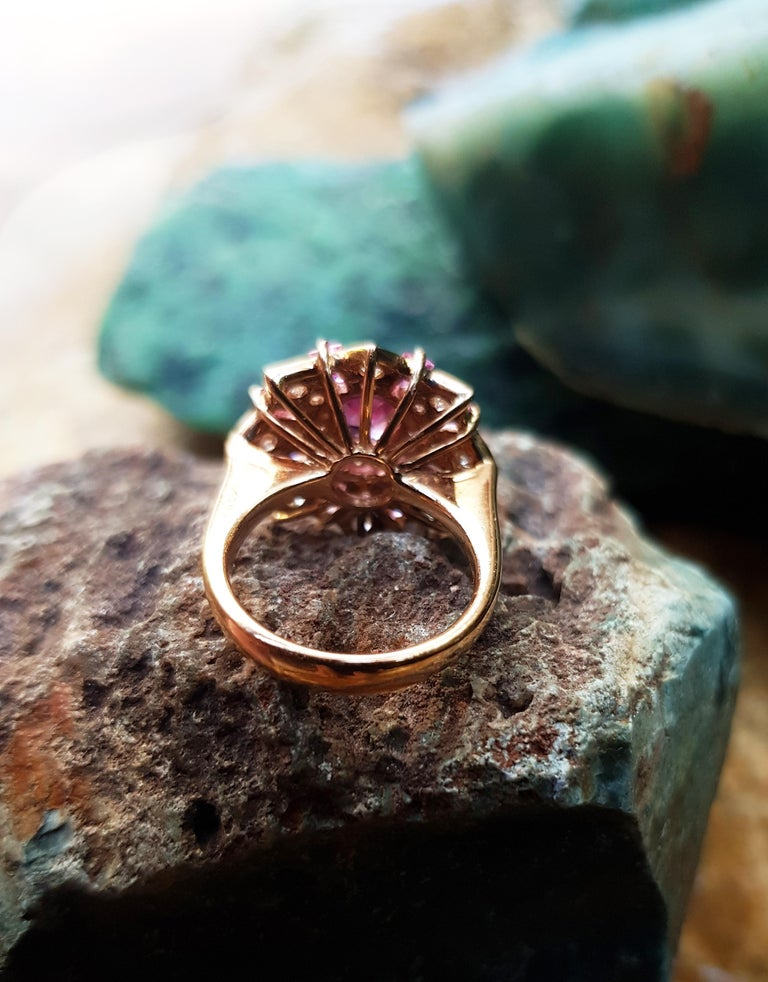 Pink Sapphire with Diamond Ring Set in 18 Karat Rose Gold Settings For Sale 2
