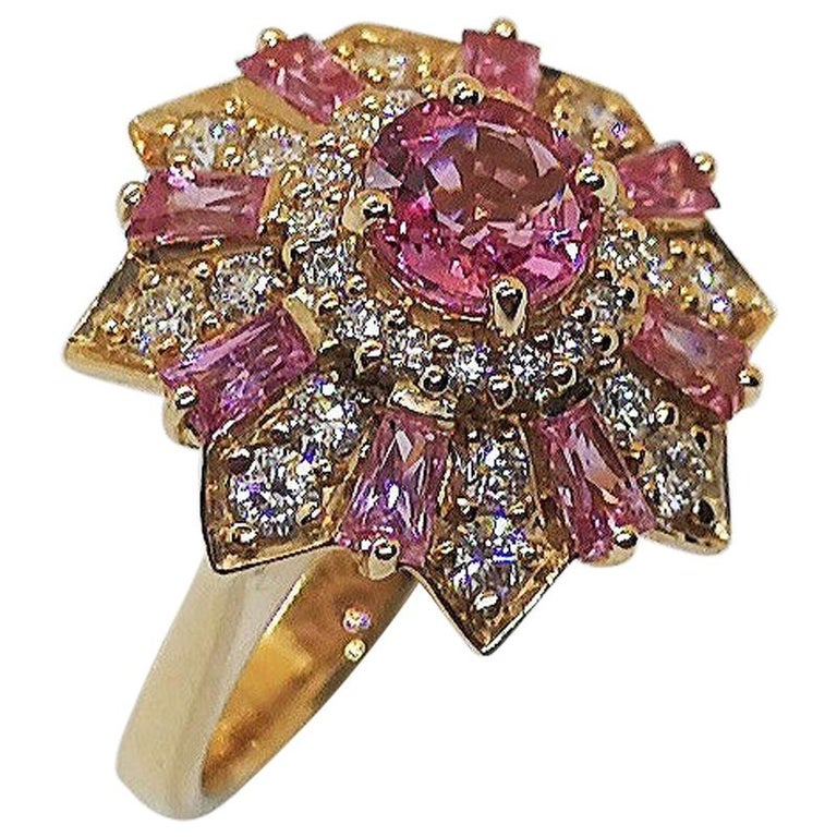 Pink Sapphire with Diamond Ring Set in 18 Karat Rose Gold Settings For Sale
