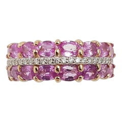 Pink Sapphire with Diamond Ring Set in 18 Karat Rose Gold Settings