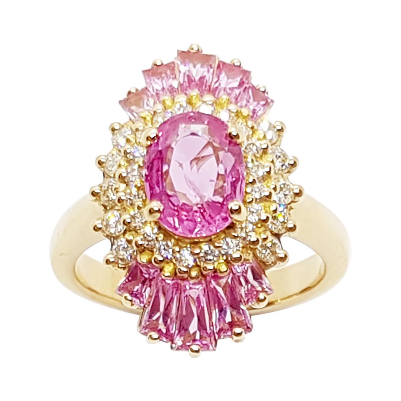 Pink Sapphire with Diamond Ring Set in 18 Karat Rose Gold Settings