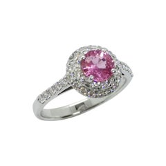 Round Cut Pink Sapphire with Diamond Ring Set in 18 Karat White Gold Settings