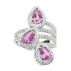 Pink Sapphire with Diamond Ring Set in 18 Karat White Gold Settings