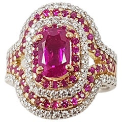 Pink Sapphire with Diamond Ring Set in 18 Karat White or Rose Gold Settings
