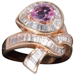 Pink Sapphire with Diamonds in Rose Gold