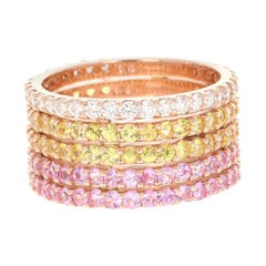 Pink Sapphire Yellow Sapphire White Diamond 14 Karat Rose Gold Band