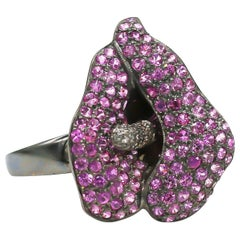 Pink Sapphires 3.65 Carat and Diamonds .20 Carat Black Ring