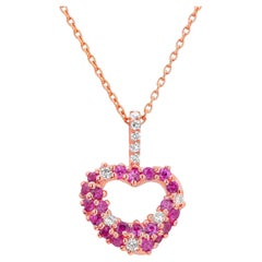 Pink Sapphires and Diamond Heart Shape Rose Gold Necklace Pendant