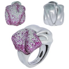 Pink Sapphires Diamonds 18 Karat White Gold Suite