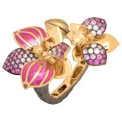 Pink Sapphires Diamonds 18 Karat Yellow Gold Enamel Orchid Ring