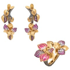Pink Sapphires Diamonds 18 Karat Yellow Gold Enamel Orchid Suite