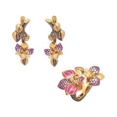 Pink Sapphires Diamonds 18 Karat Yellow Gold Enamel Orchid Suite