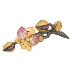 Pink Sapphires Diamonds 18 Karat Yellow Gold Orchid Brooch