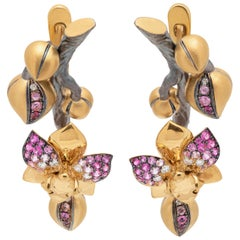 Pink Sapphires Diamonds 18 Karat Yellow Gold Orchid Earrings