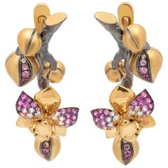 Pink Sapphires Diamonds 18 Karat Yellow Gold Orchid Earrings