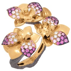 Pink Sapphires Diamonds 18 Karat Yellow Gold Orchid Ring