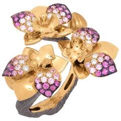 Pink Sapphires Diamonds 18 Karat Yellow Gold Orchid Ring