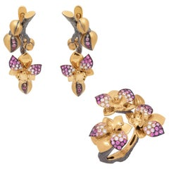 Pink Sapphires Diamonds 18 Karat Yellow Gold Orchid Suite