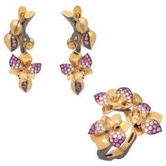 Pink Sapphires Diamonds 18 Karat Yellow Gold Orchid Suite