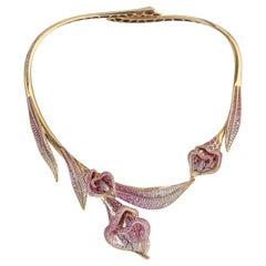 Pink Sapphires Diamonds Colored Enamel 18 Karat Yellow Gold Calla Lily Necklace