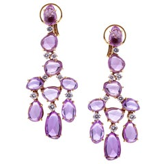 Pink Sapphires Mixed Cut and Diamonds Chandelier Earrings Set with Rose Gold