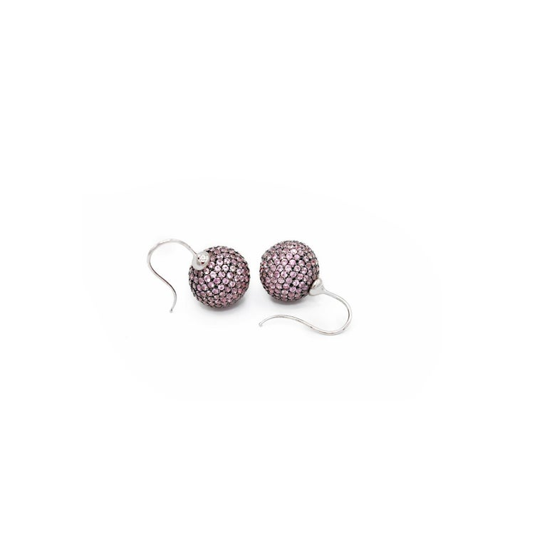 Pink Sapphires pave 18 Karat White Gold Earrings In New Condition For Sale In Torre del Greco, IT