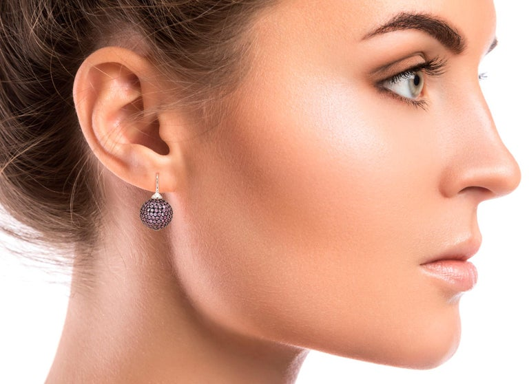 Women's Pink Sapphires pave 18 Karat White Gold Earrings For Sale