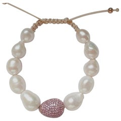 Pink Sapphires Pave and Pearls Bracelet