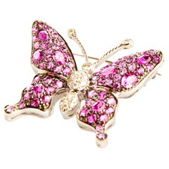 Pink Sapphires, Rubellites and Diamonds in White Gold 18 Karat Butterfly Brooch
