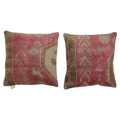 Pink Set of Geometric Vintage Turkish Wool Rug Pillows