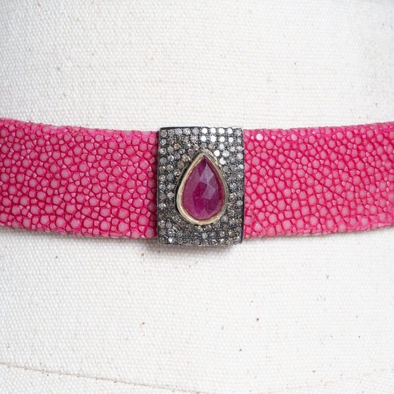 Pink Shagreen, Ruby and Diamond Choker with Sterling Buckle In Excellent Condition For Sale In Nantucket, MA
