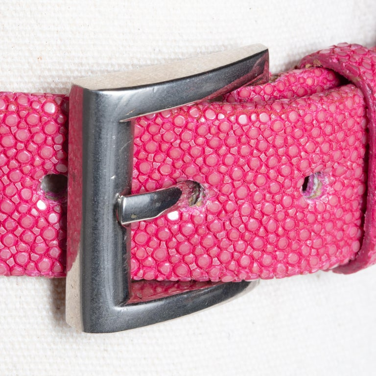 Women's or Men's Pink Shagreen, Ruby and Diamond Choker with Sterling Buckle For Sale