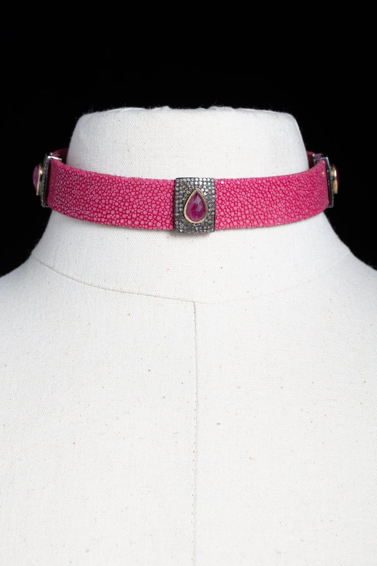 Pink Shagreen, Ruby and Diamond Choker with Sterling Buckle For Sale 1