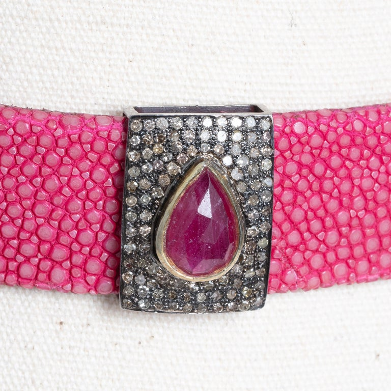 Pink Shagreen, Ruby and Diamond Choker with Sterling Buckle For Sale 4