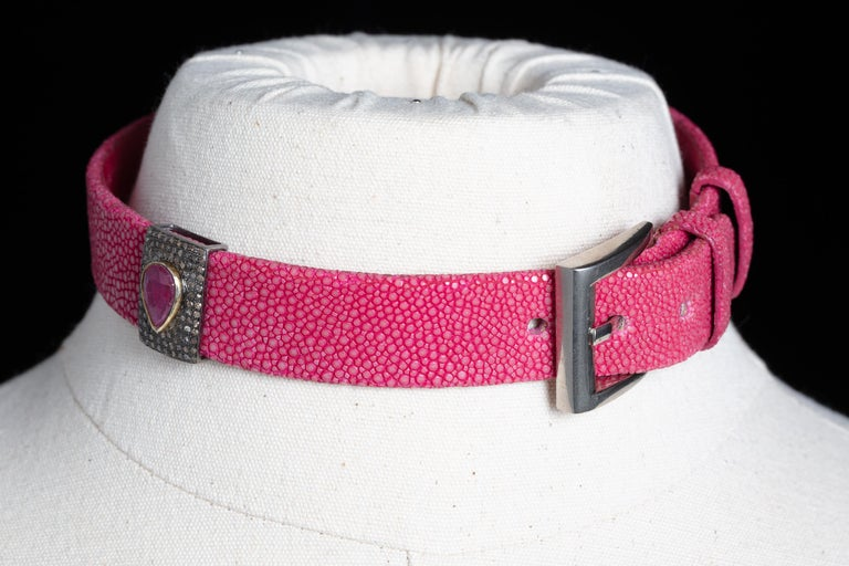 Pink Shagreen, Ruby and Diamond Choker with Sterling Buckle For Sale 5