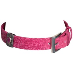 Pink Shagreen, Ruby and Diamond Choker with Sterling Buckle