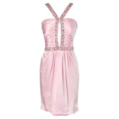 Pink silk embroidered cocktail dress