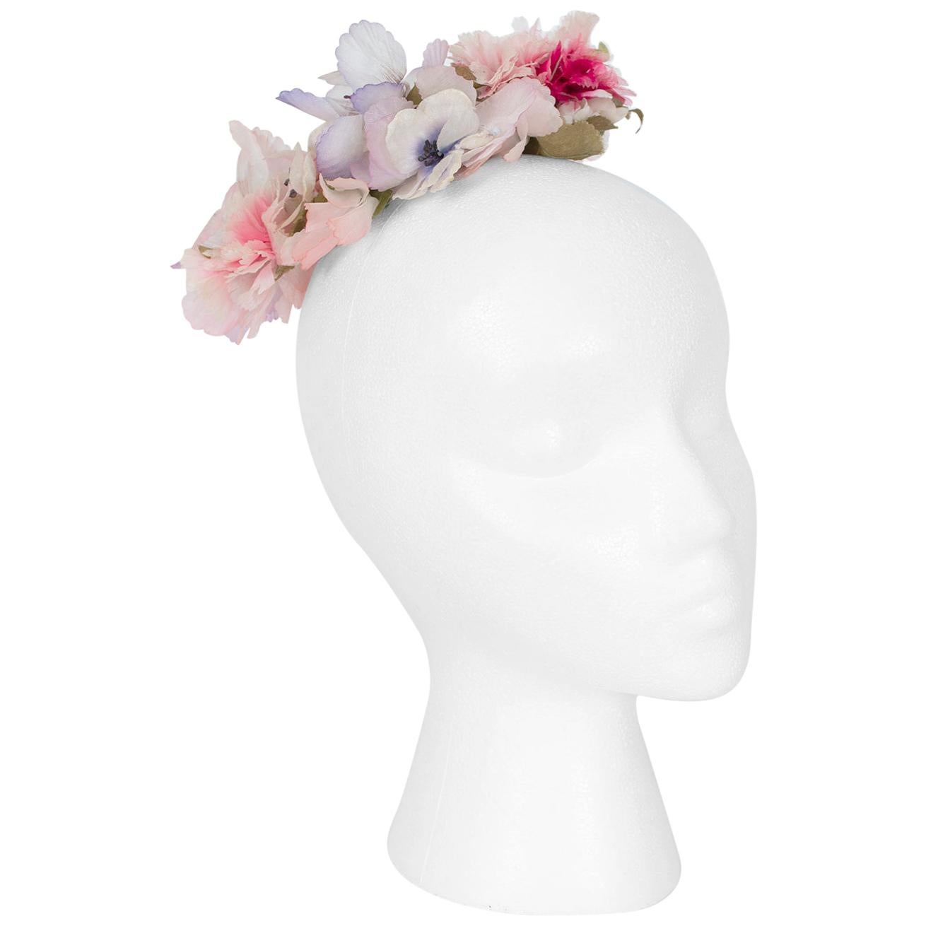 Pink Silk Floral Bridal Coronet Hair Garland Cocktail Hat – One Size, 1950s