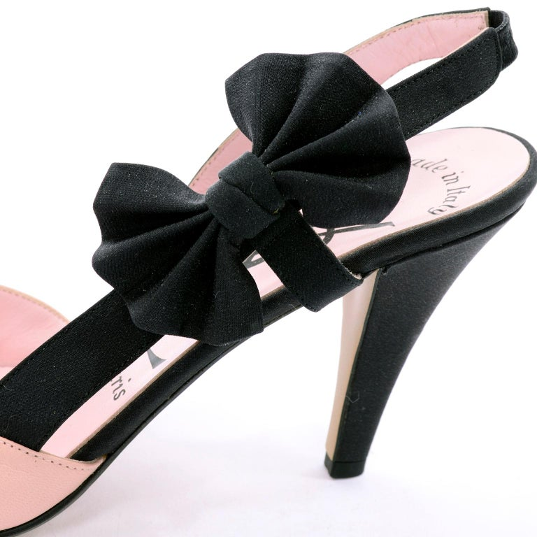 a7b2896541d Pink Slingback Peep Toe YSL Shoes With Black Bows & 3.75 Inch Heels Size  7.5N