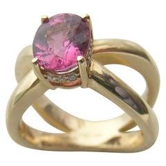 Pink Spinel, 18 Karat Gold and Diamond Crown Ring